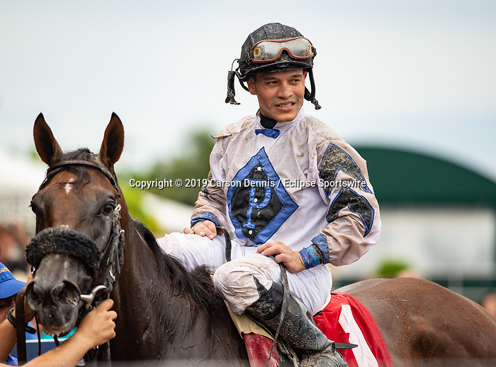June 29, 2019: #1 Itsmyluckycharm and Jockey Albin Jimenez took some mud but come away with the win in the $75,000 Azalea Stakes for Trainer/Owner/Breeder Ed Plesa, Jr. at Gulfstream Park on June 29, 2019 in Hallandale Beach, FL. (Photo by Carson Dennis/Eclipse Sportswire/CSM)