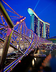 The Helix Bridge and the Marina Sands in Singapore