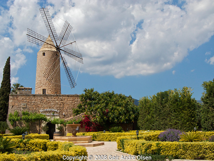The restaurant Molides Torrent in an old windmill outside Santa Maria at Majorca, Spain
