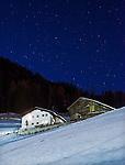 Italy, Alto Adige, South Tyrol, Val Gardena, Ortisei, district Pufels: stary night at Val Gardena   Italien, Suedtirol, Groednertal, St. Ulrich, Ortsteil Pufels: sternenklare Nacht im Groednertal