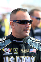Feb 22, 2015; Chandler, AZ, USA; NHRA top fuel driver Tony Schumacher during the Carquest Nationals at Wild Horse Pass Motorsports Park. Mandatory Credit: Mark J. Rebilas-