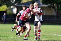 Seb Macdonald of Kings College is tackled during the College 1st XV Rugby - Scots College v Kings College at Scots College, Wellington, New Zealand on Saturday 8 May 2021.<br /> Copyright photo: Masanori Udagawa /  www.photosport.nz