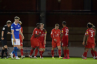Joe Widdowson of Leyton Orient celebrates his goal with team mates during the EFL Trophy behind closed doors match between Leyton Orient and Brighton & Hove Albion Under 21s at the Matchroom Stadium, London, England played without supporters able to attend due to ongoing covid-19 government guidelines on 8 September 2020. Photo by Vince  Mignott.