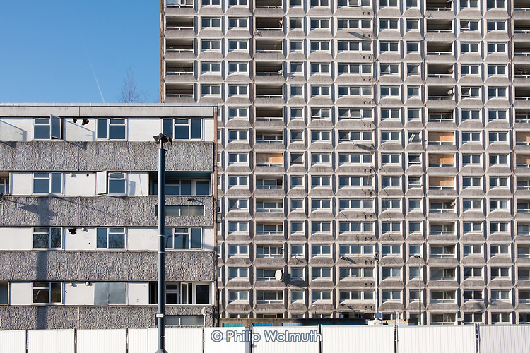 Empty Durham Court and Gloucester House blocks awaiting demolition in Phase 2b of Brent Council's South Kilburn Estate regeneration scheme.