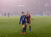 EAST HARTFORD, CT - JULY 1: Samantha Mewis #3 and Kristie Mewis #6 of the USWNT walk the field during a game between Mexico and USWNT at Rentschler Field on July 1, 2021 in East Hartford, Connecticut.