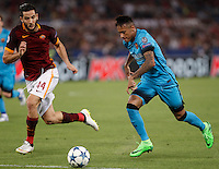 Calcio, Champions League, Gruppo E: Roma vs Barcellona. Roma, stadio Olimpico, 16 settembre 2015.<br /> FC Barcelona's Neymar, right, is challenged by Roma's Kostas Manolas during a Champions League, Group E football match between Roma and FC Barcelona, at Rome's Olympic stadium, 16 September 2015.<br /> UPDATE IMAGES PRESS/Isabella Bonotto