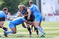 Eddie Battye of London Broncos looks for a way through during the Kingstone Press Championship match between London Broncos and Sheffield Eagles at Castle Bar , West Ealing , England  on 9 July 2017. Photo by David Horn.