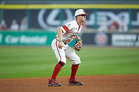 Louisiana Ragin' Cajuns shortstop Hayden Cantrelle (5) on defense against the Mississippi State Bulldogs in game three of the 2018 Shriners Hospitals for Children College Classic at Minute Maid Park on March 2, 2018 in Houston, Texas.  The Bulldogs defeated the Ragin' Cajuns 3-1.   (Brian Westerholt/Four Seam Images)