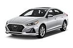 2018 Hyundai Sonata Limited 4 Door Sedan angular front stock photos of front three quarter view