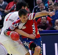 Dalibor Cutura of Serbia in action during men`s EHF EURO 2012 championship semifinal handball game between Serbia and Croatia in Belgrade, Serbia, Friday, January 27, 2011.  (photo: Pedja Milosavljevic / thepedja@gmail.com / +381641260959)