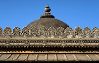 Architectural detail of the ornate, elaborate roof of the Shah Alam Roza mosque. Ahmedabad, India.