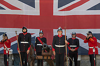 BNPS.co.uk (01202 558833)<br /> Pic: Zachary Culpin/BNPS<br /> <br /> Dressed to impress - The Nothe Fort Artillery were on parade in front of a huge Union Jack to celebrate Heritage Open Day in Weymouth, Dorset today (Sunday).<br /> <br /> The Nothe Fort, which was built between 1860 and 1872, opened its doors for free to mark England's largest festival of history and culture.