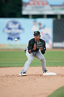 Dayton Dragons second baseman Jose Garcia (15) waits to receive a throw during a game against the Beloit Snappers on July 22, 2018 at Pohlman Field in Beloit, Wisconsin.  Dayton defeated Beloit 2-1.  (Mike Janes/Four Seam Images)