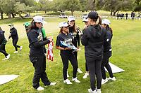STANFORD, CA - APRIL 25: Allisen Corpuz, Brianna Navarrosa, Malia Nam, Amelia Garvey, Katie Woodruff, Alyaa Abdulghany at Stanford Golf Course on April 25, 2021 in Stanford, California.
