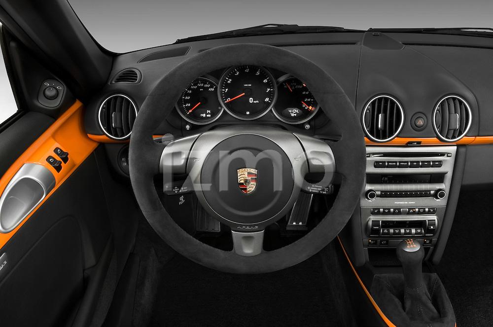Steering wheel detail of a 2008 Porsche Boxster LE