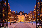 Christmas snow at Ochre Court, a mansion Newport, RI, USA