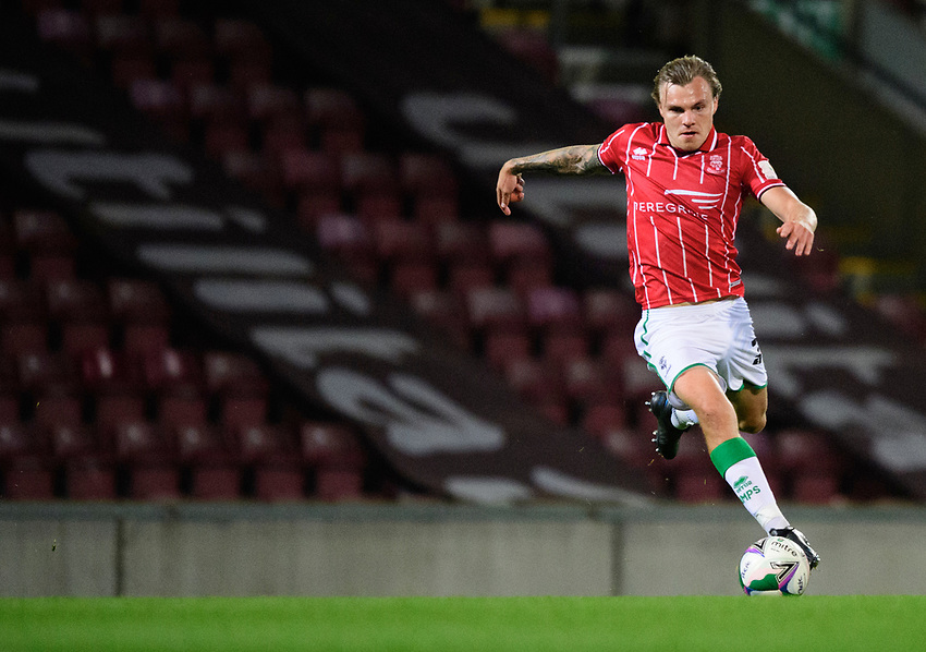 Lincoln City's Harry Anderson<br /> <br /> Photographer Chris Vaughan/CameraSport<br /> <br /> Carabao Cup Second Round Northern Section - Bradford City v Lincoln City - Tuesday 15th September 2020 - Valley Parade - Bradford<br />  <br /> World Copyright © 2020 CameraSport. All rights reserved. 43 Linden Ave. Countesthorpe. Leicester. England. LE8 5PG - Tel: +44 (0) 116 277 4147 - admin@camerasport.com - www.camerasport.com
