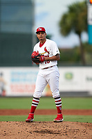 Palm Beach Cardinals starting pitcher Alvaro Seijas (16) during a Florida State League game against the Clearwater Threshers on August 9, 2019 at Roger Dean Chevrolet Stadium in Jupiter, Florida.  Palm Beach defeated Clearwater 3-0 in the second game of a doubleheader.  (Mike Janes/Four Seam Images)