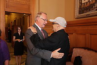 August 27 2012 - Montreal (Qc) CANADA - <br /> The jury of the 2012 World Film Festival at  Montreal City hall.<br /> <br /> Gerald Tremblay, Mayor of Montreal (L) and Serge Losique (R)<br /> <br /> <br />  File Photo Agence Quebec Presse - Pierre Roussel