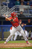 Williamsport Crosscutters catcher Brett Barbier (8) at bat during a game against the Batavia Muckdogs on September 1, 2016 at Dwyer Stadium in Batavia, New York.  Williamsport defeated Batavia 10-3. (Mike Janes/Four Seam Images)