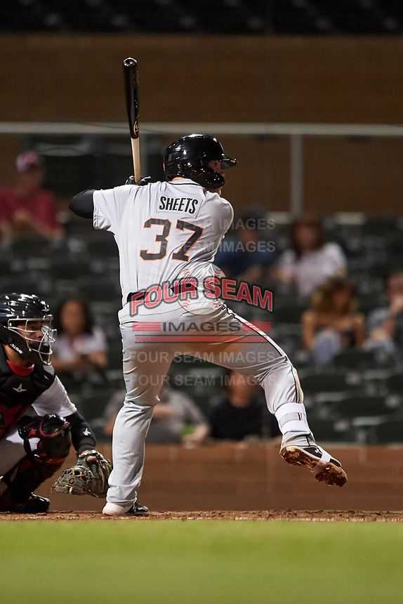Glendale Desert Dogs Gavin Sheets (37), of the Chicago White Sox organization, at bat during an Arizona Fall League game against the Scottsdale Scorpions on September 20, 2019 at Salt River Fields at Talking Stick in Scottsdale, Arizona. Scottsdale defeated Glendale 3-2. (Zachary Lucy/Four Seam Images)