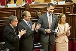 Senate President, Pio Garcia-Escudero (L), Prince Felipe of Spain and Development Minister, Ana Pastor, attend the Spanish Architects Superior Board Awards ceremony at Senate Palace in Madrid, Spain. December 03, 2013. (ALTERPHOTOS/Victor Blanco)