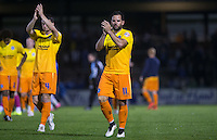 Sam Wood of Wycombe Wanderers applauds the fans during the Johnstone's Paint Trophy match between Bristol Rovers and Wycombe Wanderers at the Memorial Stadium, Bristol, England on 6 October 2015. Photo by Andy Rowland.