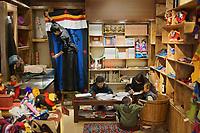 Diqing Tibetan Autonomous Prefecture, Yunnan Province, China - Tibetan youths take Tibetan language class, August 2018.