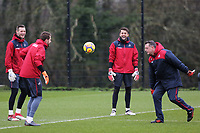 Goalkeepers Erwin Mulder, Kristoffer Nordfeldt and Lukasz Fabianski warm up with Tony Roberts, goalkeeping coach during the Swansea City Training and Press Conference at The Fairwood Training Ground, Swansea, Wales, UK. Thursday 08 February 2018