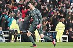 Real Madrid's Thibaut Courtois celebrates goal during La Liga match. March 1,2020. (ALTERPHOTOS/Acero)