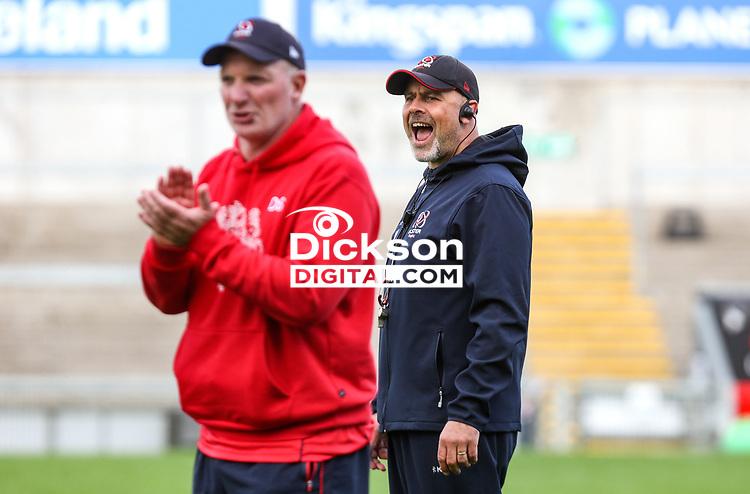 Tuesday 28th September 2021<br /> <br /> Dan Soper and Dan McFarland during Ulster Rugby training at Kingspan Stadium, Ravenhill Park, Belfast, Northern Ireland. Photo by John Dickson/Dicksondigital
