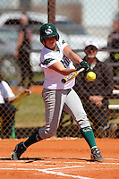 Slippery Rock designated player Katie Saluga #8 during a game against Lees-McRae College at Oren Brown Field on March 7, 2011 in Kissimmee, Florida.  Slippery Rock defeated Lees-McRae 9-6.  (Mike Janes/Four Seam Images)