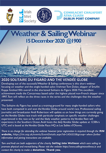 Tom Dolan is doing a weather talk next week for the RIN in aid of Sailing into Wellness