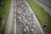 peloton under the bridge along the canal in the final local laps<br /> <br /> 103rd Scheldeprijs 2015