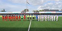 Belgium A - North Korea friendly game at Koksijde KVV Stadium - Belgie - Noord Korea : .line - up voor de wedstrijd met volksliederen .foto David Catry / Joke Vuylsteke / Vrouwenteam.be