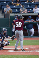 Davis Crane (50) of the Bellarmine Knights at bat against the Liberty Flames at Liberty Baseball Stadium on March 9, 2021 in Lynchburg, VA. (Brian Westerholt/Four Seam Images)