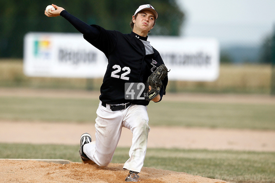 14 July 2011: Gerald Torres of the PUC pitches against Savigny during the 2011 Challenge de France match won 7-2 by the Savigny Lions over the PUC, in Les Andelys, near Rouen, France.
