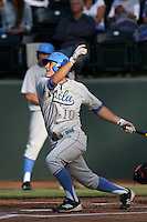Pat Valaika #10 of the UCLA Bruins bats against the TCU Horned Frogs at the Los Angeles super regionals at Jackie Robinson Stadium on June 9, 2012 in Los Angeles,California. UCLA defeated TCU 4-1.(Larry Goren/Four Seam Images)