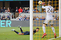 SAN JOSE, CA - SEPTEMBER 30: Seattle Sounders  FC goalkeeper Stefan Frei #24 makes a save on a shot by Shea Salinas #6 of the San Jose Earthquakes during a Major League Soccer (MLS) match between the San Jose Earthquakes and the Seattle Sounders on September 30, 2019 at Avaya Stadium in San Jose, California.