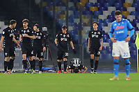 Nedim Bajrami of Empoli FC celebrates with team mates after scoring a goal during the Italy Cup football match between SSC Napoli and Empoli FC at stadio Diego Armando Maradona in Napoli (Italy), January 13, 2021. <br /> Photo Cesare Purini / Insidefoto