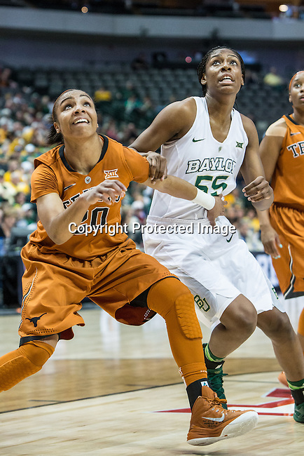 guard Brianna Taylor (20) blocks out point guard Khadijiah Cave (55) during Big 12 women's basketball championship final, Sunday, March 08, 2015 in Dallas, Tex. (Dan Wozniak/TFV Media via AP Images)