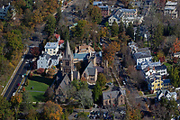 aerial photograph of Trinity Church at Princeton University, Princeton, Mercer County, New Jersey in autumn