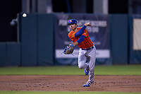 St. Lucie Mets third baseman Jimmy Titus (21) throws to first base during a game against the Fort Myers Mighty Mussels on June 3, 2021 at Hammond Stadium in Fort Myers, Florida.  (Mike Janes/Four Seam Images)