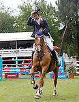 Portugal's jockey Felipe Malta da Costa with the horse Joyau du Manoir 4th classified during 102 International Show Jumping Horse Riding, King's College Trophy. May, 20, 2012. (ALTERPHOTOS/Acero)