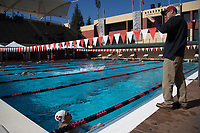 STANFORD, CA - February 17, 2018: Ted Knapp at Avery Aquatic Center. The Stanford Cardinal defeated the California Golden Bears 151-149 on Senior Day.