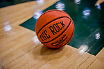 26 January 2019: A Basketball - The Rock - lies on the court sidelines during a game between the University of Vermont Catamounts and the Stony Brook Seawolves at Patrick Gymnasium in Burlington, Vermont. The Lady Seawolves defeated the Lady Catamounts 67-61 in America East Women's Basketball. Mandatory Credit: Ed Wolfstein Photo *** RAW (NEF) Image File Available ***