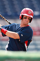 Washington Nationals minor league outfielder Bryce Harper (34) on deck during a game vs. the Chinese National Team in an Instructional League game at Holman Stadium in Vero Beach, Florida September 30, 2010.   Harper was selected in the first round, 1st overall, of the 2010 MLB Draft out of Southern Nevada Junior College.  Photo By Mike Janes/Four Seam Images