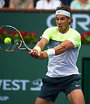 Rafael Nadal (ESP) during his round of 16 match against Giles Simon (FRA). Nadal dispatched Simon with a score of 62 64 at the BNP Parisbas Open in Indian Wells, CA on March 18, 2015.