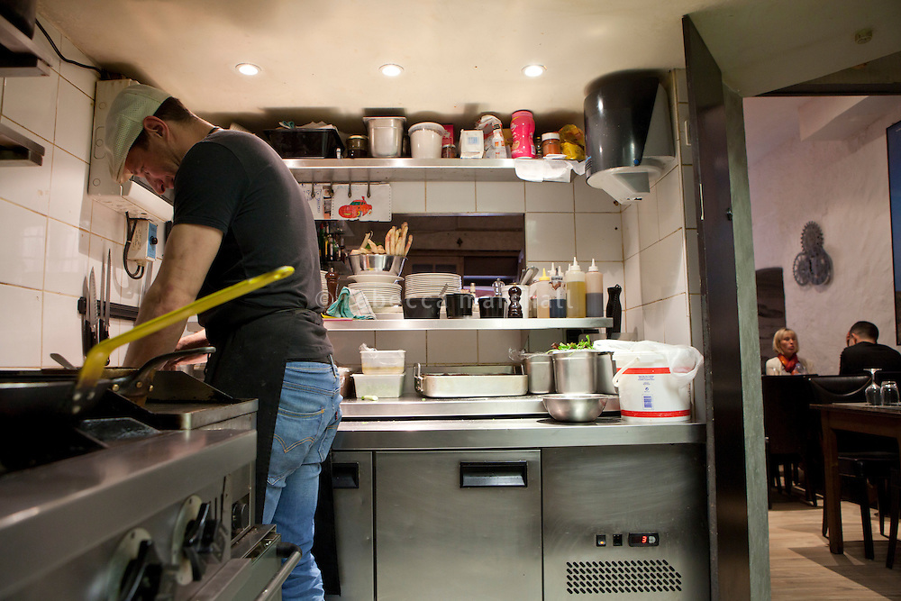 Kitchen of the restaurant 'Chat Noir, Chat Blanc', Nice, France, 10 April 2012