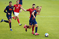 Blackpool's Jerry Yates is fouled by Crewe Alexandra's Luke Murphy<br /> <br /> Photographer Rich Linley/CameraSport<br /> <br /> The EFL Sky Bet League One - Crewe Alexandra v Blackpool - Saturday 17th October 2020 - Gresty Road - Crewe<br /> <br /> World Copyright © 2020 CameraSport. All rights reserved. 43 Linden Ave. Countesthorpe. Leicester. England. LE8 5PG - Tel: +44 (0) 116 277 4147 - admin@camerasport.com - www.camerasport.com